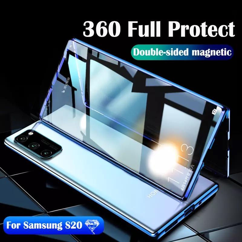 magnetic adsorption flip <font><b>case</b></font> for <font><b>samsung</b></font> galaxy <font><b>A50</b></font> s20 ultra plus Note10 <font><b>case</b></font> double-sided tempered <font><b>glass</b></font> metal bumper cover image