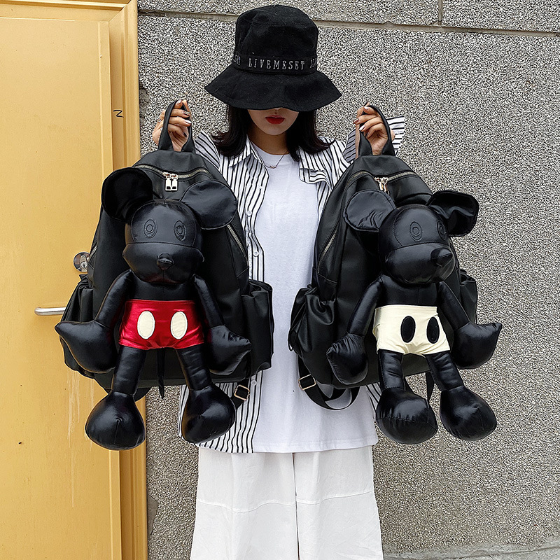2019 Mickey Backpack High Quality Women Shoulder School Bag PU Leather Ladies Travel Backpack Fashion High Capacity Storage Bag