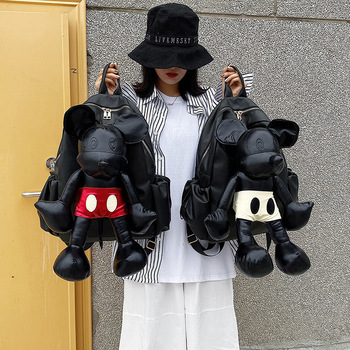 2019 Mickey Backpack High Quality Women Shoulder School Bag PU Leather Ladies Travel Backpack Fashion High Capacity Storage Bag canvas double shoulder backpack high quality student laptop daypacks bag large capacity travel backpack outdoor storage bag