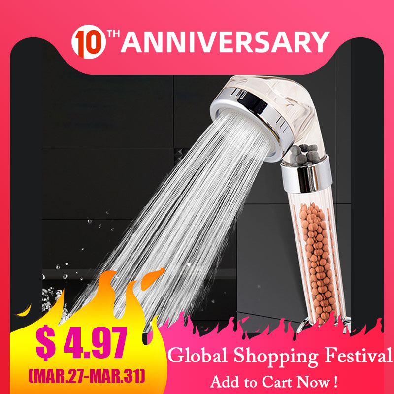 ZhangJi Therapy Shower Anion SPA Handheld Shower Head Water Saving Rainfall Filter Shower Head High Pressure Water ABS Bathroom