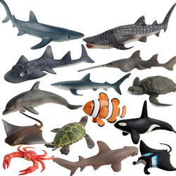 Реалистичные миниатюрные Фигурки морских животных, дельфин, Акула, Кит, набор моделей, DIY фигурки, миниатюрные морские животные, развивающие...