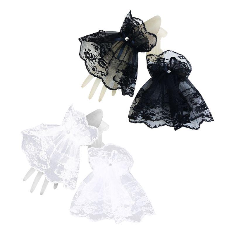Women Black Lace Wrist Cuffs Bracelets Wedding Rhinestone Bow Fingerless Gloves C6UD