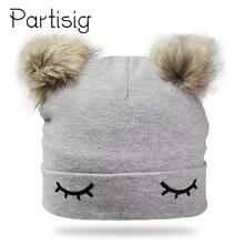 Шапки для маленьких девочек, хлопковая шапка с вышивкой в виде глаз и двойным помпоном для девочек, зимние детские шапки, новая шапка для малышей