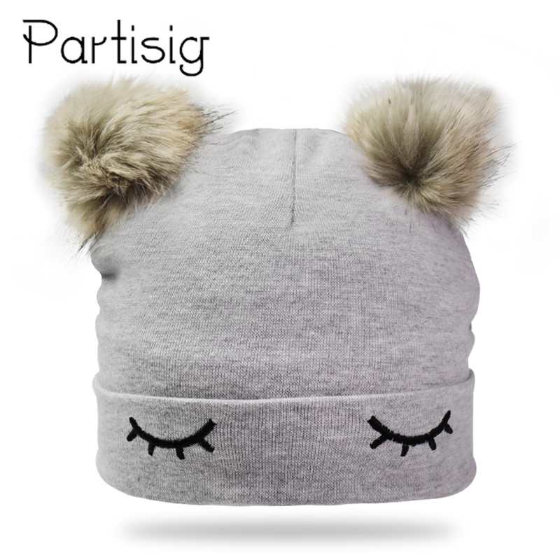 Baby Girl Hats Cotton Embroidery Eye Double Pompom Hat For Girls Winter Kids Caps New Bonnet Baby Hat