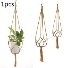 Net-Bag Flower-Pot Outdoor-Hook Hanging-Basket Knotted-Rope Handmade Indoor Home Macrame