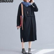 DIMANAF Plus Size Women Dress Autumn Long Sleeve Fold Basic Casual Big Female Lady Vestidos Loose Knitting Thin 2019