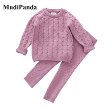Child's 0-4 Years Girls Boys Suit Fall Baby Clothing Sets Winter knitting Pullover Sweater+Pants Infant Boys Knit Tracksuits