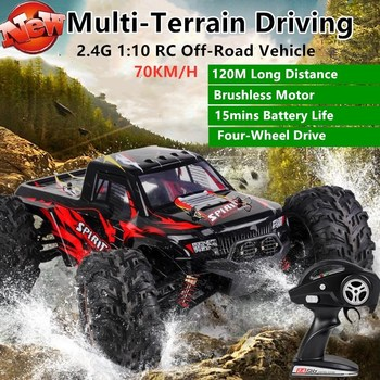 High Speed Brushless RC Off-Road Vehicle 2.4G 70KM/H 1:10 Ratio 4WD suspension shock absorber Alloy Remote Control Car Model Toy image