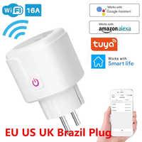 Enchufe inteligente WiFi 16A, adaptador para Reino Unido, Control remoto inalámbrico por voz, toma de corriente de Monitor de energía, temporizador, para Alexa y Google Home