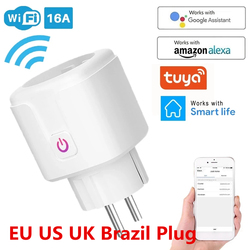 WiFi Smart Plug 16A EU UK Adaptor Wireless Remote Voice Control Power Energy Monitor Outlet Timer Socket for Alexa Google Home
