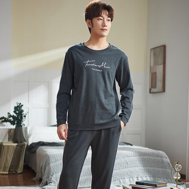 Men's Pajama Sets Autumn Man Pajamas Set Simple Sleepwear Long Sleeve Pure Cotton Pajamas For Men Plus Size 4XL Leisure Outwear