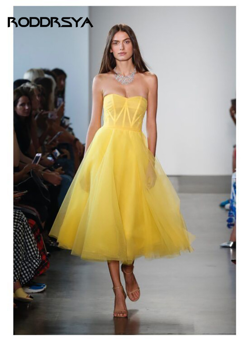 Yellow Tulle Tea Lengh Prom Dresses A Line Evening Dress Short Formal Dress Party Gown  Abiye Gece Elbisesi
