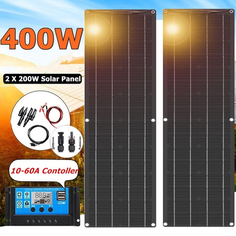2020 Newly High Efficiency Solar Panel  400W 2*200W Black Backplane Battery Charger For Car Yacht Boat RV Camping Caravan Home