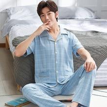 Хлопок Мужчины Пижамы Костюм Пижамы Пижамы Свободного Покроя Пижамы Homewer Лето Домашняя Одежда Сна Интимное Белье Сорочка