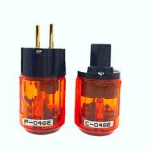 Oyaide enchufe macho de la UE con conector IEC de P 046E, conector de audio hifi de alta gama, chapado en oro de 24K, Schuko Power, C 046E