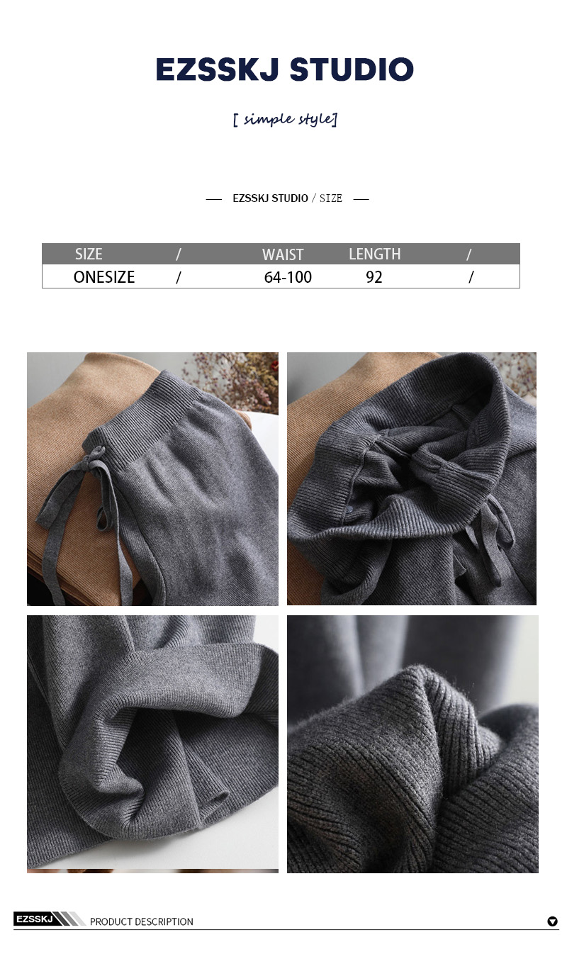 2019 autumn winter new THICK casual straight pants women female drawstring loose knitted wide leg pants casual Trousers 15