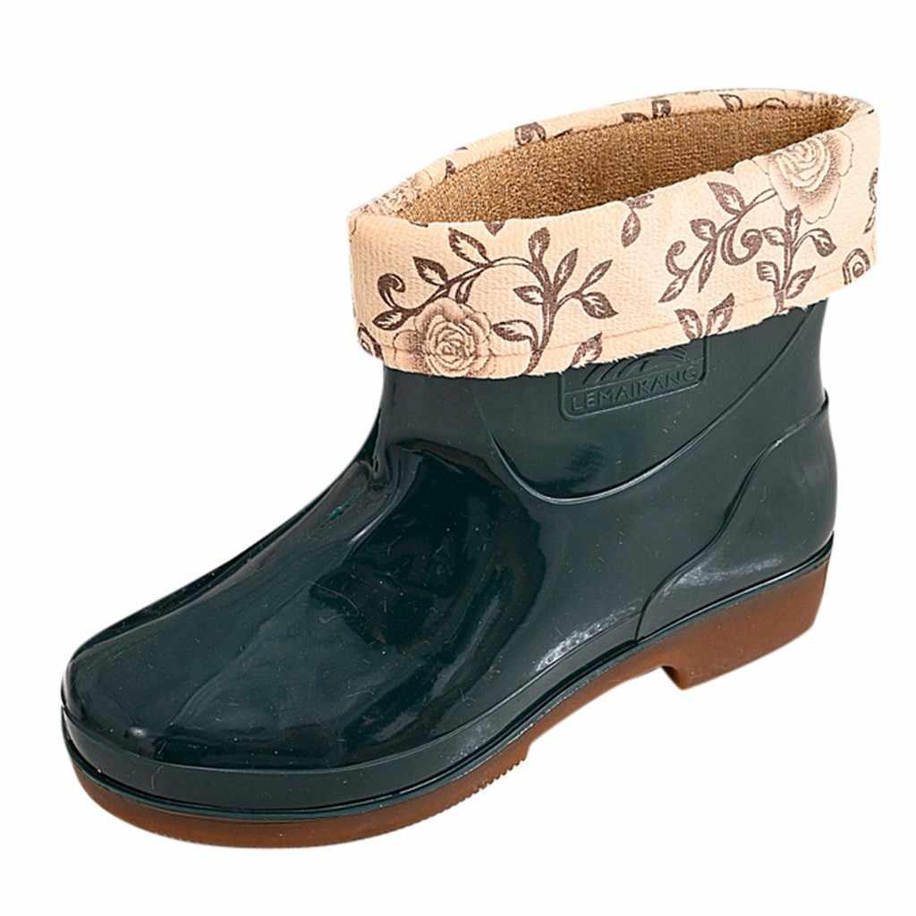 Kadın yağmur çizmeleri kalınlaşmak kapak su geçirmez platform ayakkabılar Unisex kayma üzerinde atlama yarım çizmeler сапоги женские зимние sonbahar