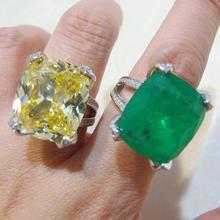 925 sterling Silver big Created Diamond Moissanite Citrine Cocktail Rings Yellow Gemstone Emerald Ring For women Fine Jewelry