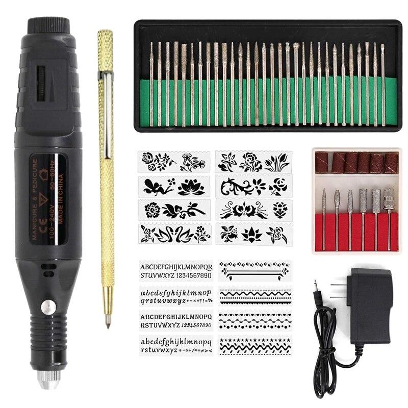 Electric Micro-Engraving Pen Mini Diy Vibro Engraving Tool Kit Metal Glass Ceramic Plastic Wood Jewelry With Stapler Etcher 30 B