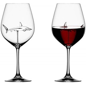 Хрустальные Вечерние Свадебные фужеры бокал для вина es чашка Акула внутри бутылки для вина ручной выдувный бокал для вина es