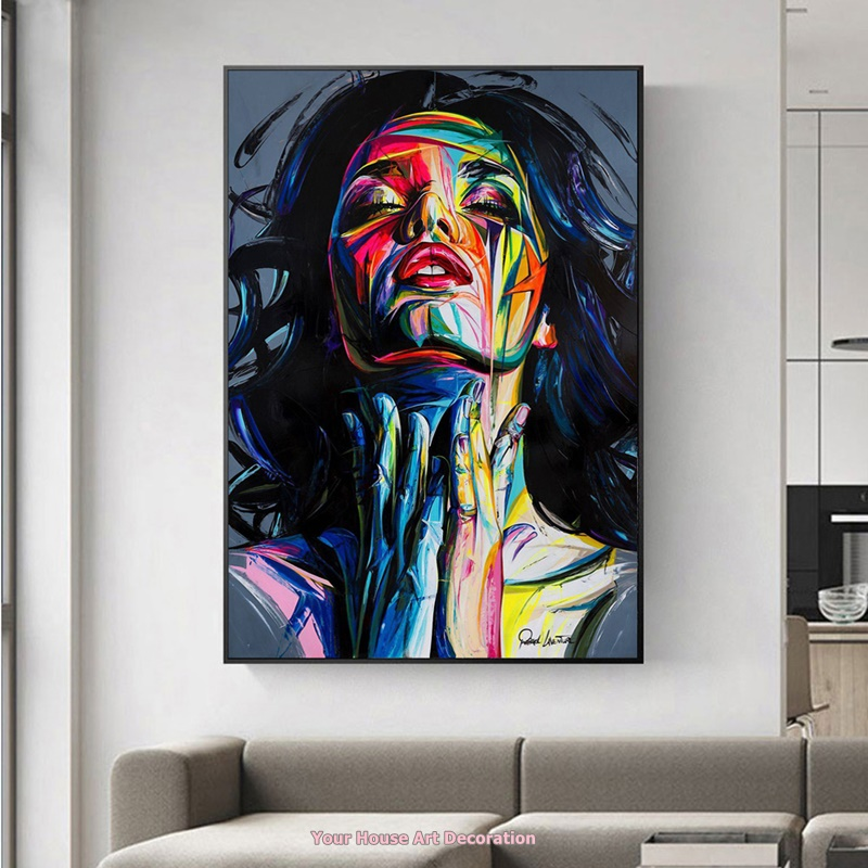 Colorful Abstract Girl Face Wall Art Print And Poster Canvas Painting Modern Graffiti Prints Home Decor Modular Pictures