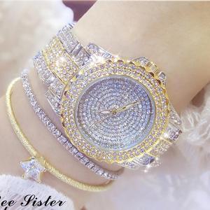 Image 2 - Женские наручные часы с кристаллами, полностью алмазные часы из нержавеющей стали