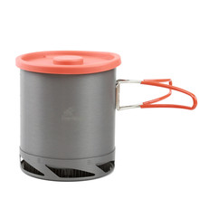 Outdoor Portable Heat Collecting Exchanger Pot Anodized Aluminum Camping picnic Pot Cookware Cup Cooking Hiking 1L
