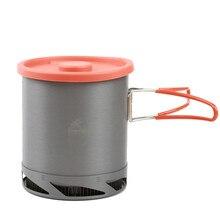 Pot déchangeur de chaleur Portable extérieur en aluminium anodisé Camping pique nique Pot ustensiles de cuisine tasse cuisson randonnée 1L