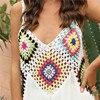 Crochet Beach Cover-ups Summer Tunic Cover Up Long Knitted Beachwear Swimsuit Ups for Women Vestido Playa Mujer White Dress 2021 5