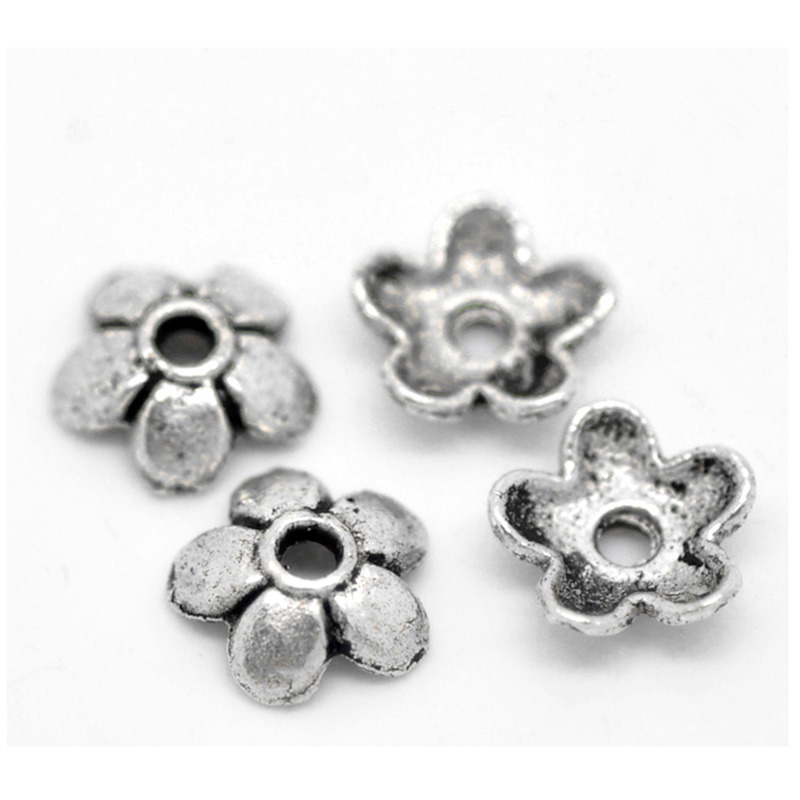 DoreenBeads Hot 70PCs Silver Color Flower Bead End Caps Findings Jewelry DIY Findings Charms 6mmx6mm( 2/8
