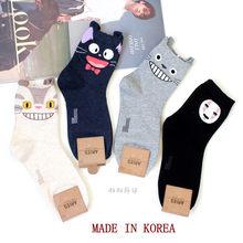Cartoon Katze Nette Socken Frauen Keine Gesicht Mann Socke Totoro Lustige Mode Anime Frühling Herbst Schweiß Absorption Grau Klassische Baumwolle socke