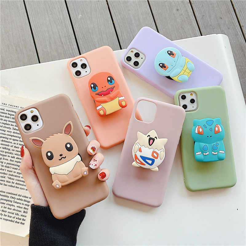 3D Elf Bal Beer Cartoon Houder Stand Soft Phone Cover Voor Iphone 11pro Max X Xr Xs 7 8 6S Plus Voor Samsung S8 S9 S10 Note Case