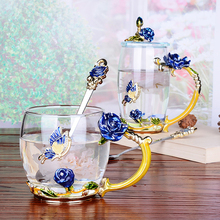 Enamel color blue rose glass cup coffee tea cup home heat-resistant glass cups flower tea cup water mug to send friend gifts beauty and novelty enamel coffee cup mug flower tea glass cups for hot and cold drinks tea cup spoon set perfect wedding gift