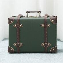 16 inch portable password suitcase Mini Retro leather suitcase Fashion unisex Handmade aluminum frame Luggage custom made