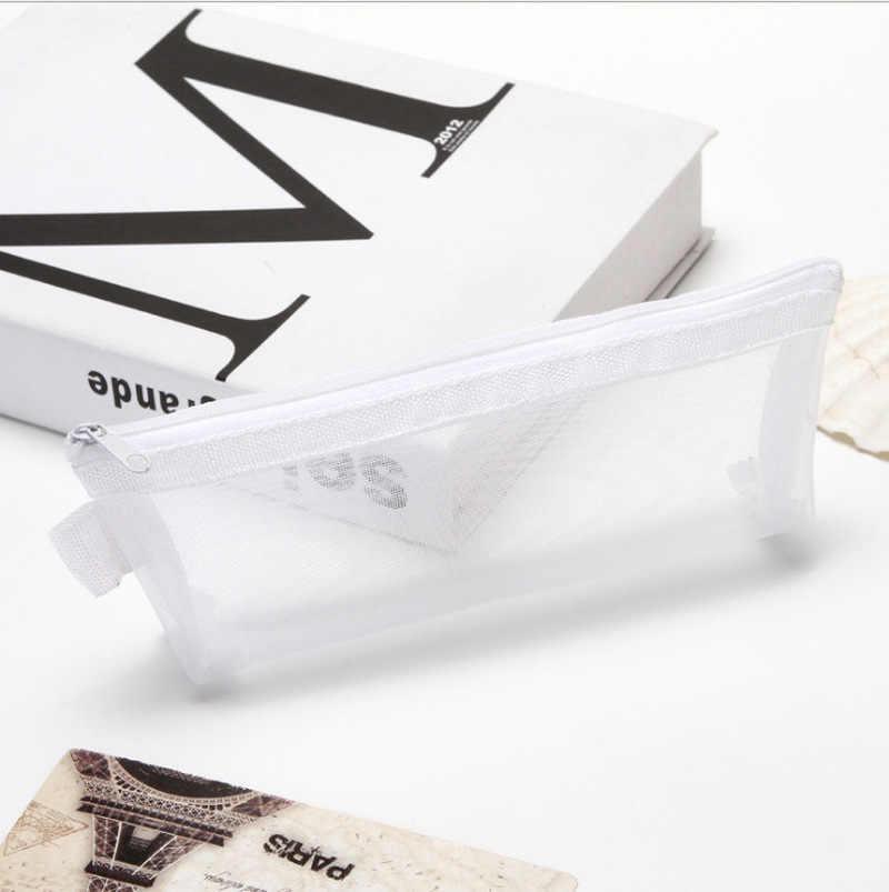 21*9cm şeffaf ızgara fermuarlı örgü kalem çantası kalem kutusu depolama paketi kızlar için okul malzemeleri