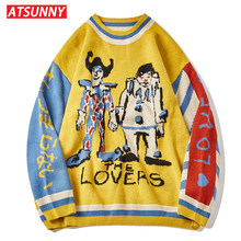 ATSUNNY Clown Embroidery Harajuku Sweater Retro Style Knitted Sweater Autumn Cotton Pullover
