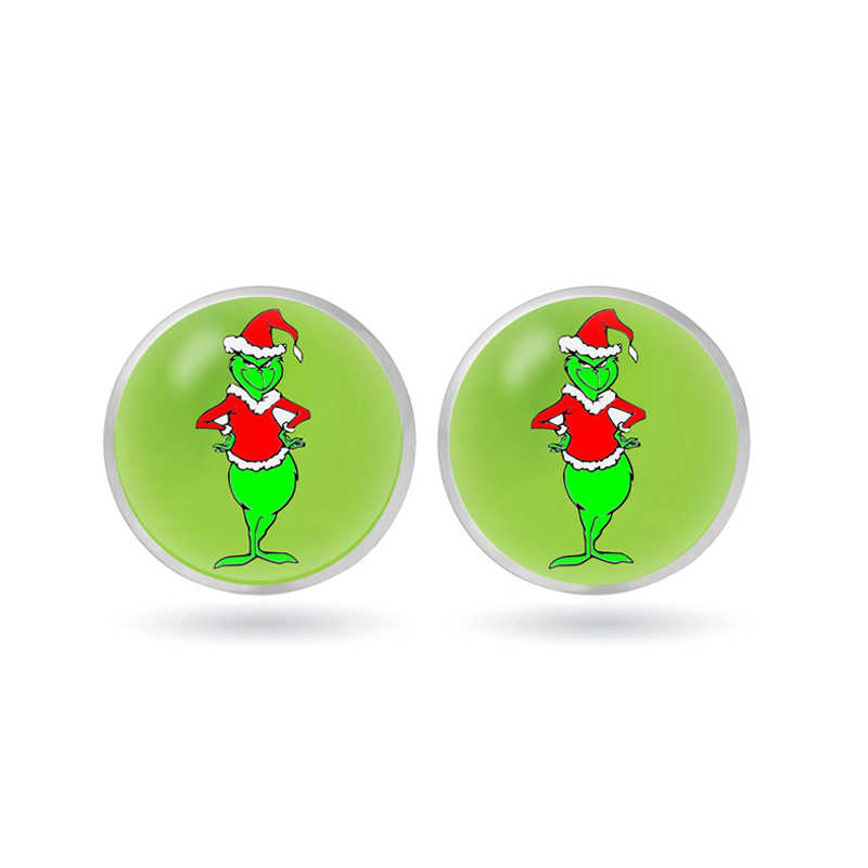 The Grinch Stud Earrings Glass Circle Animal Earrings for The Grinch Anime Jewelry Children's Toys Christmas Gift Flash