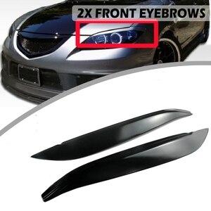 Image 1 - for Mazda 3 Hatchback 2004 2009 Glossy Black Front Headlights Eyebrow Eyelid Sticker Trim Car Decoration