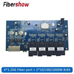 Gigabit Ethernet Switch Faser Optische schalter Industrie Grade 4 1,25G Faser Port 2 RJ45 10/ 100/100 0M PCB board