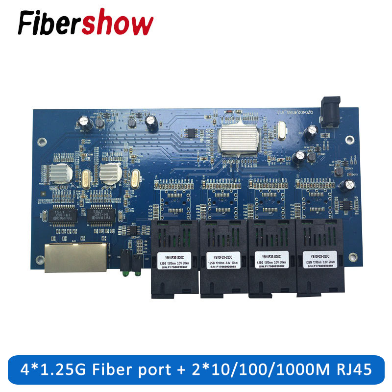 Gigabit Ethernet Switch Fiber Optical Switch Industrial Grade 4 1.25G Fiber Port  2 RJ45  10/100/1000M PCB Board