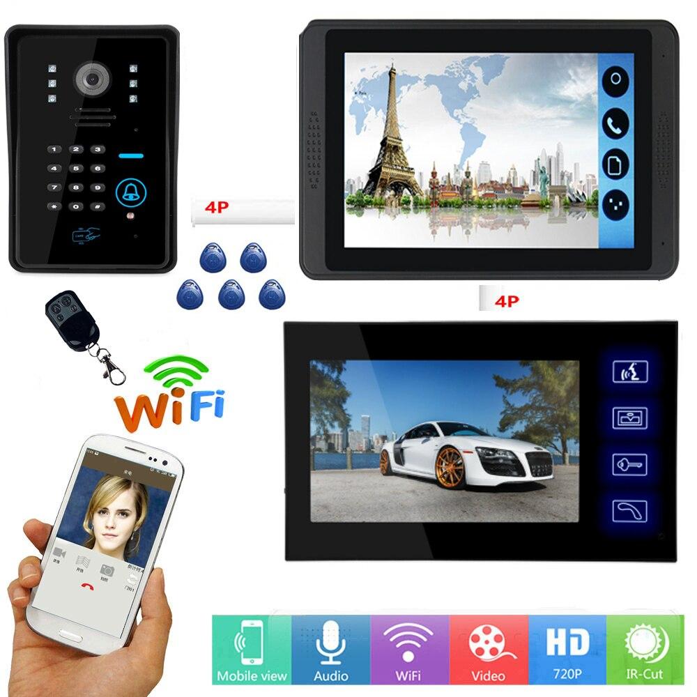 APP Control RFID Password Access Video Intercom 7 Inch LCD Wifi Wireless Video Door Phone Doorbell Visual Unlock Intercom System