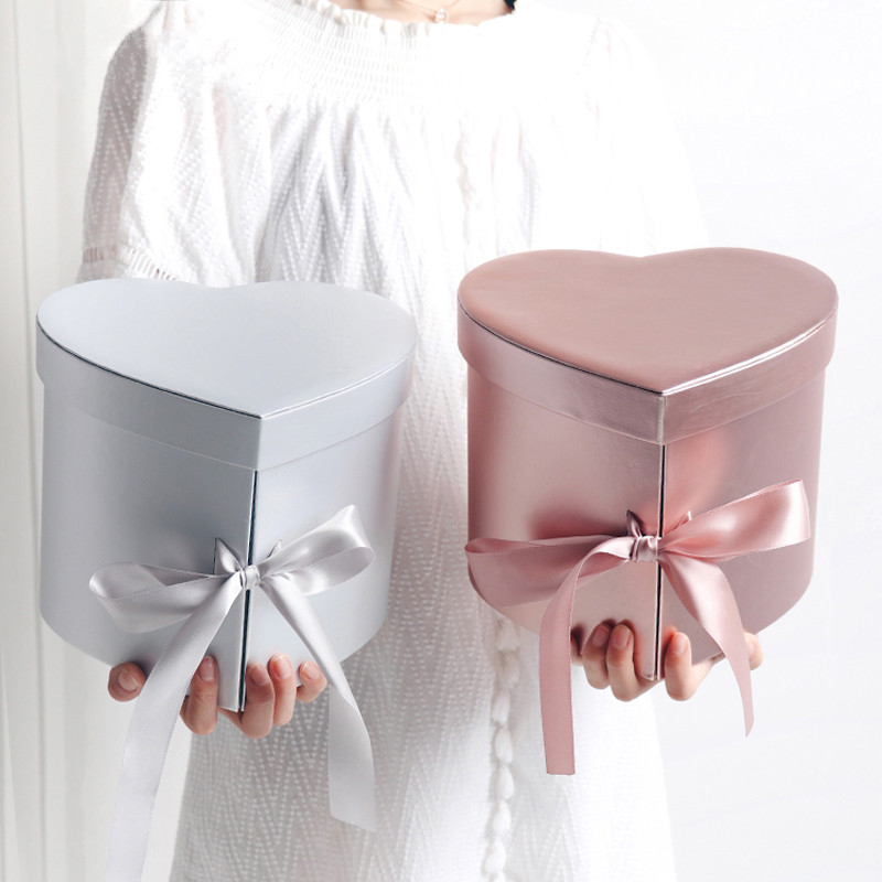 Love Heart Gift Cardboard Creative Wedding Favor Valentines Day Florist Party Hand Gift Flower Decoration Packaging Box