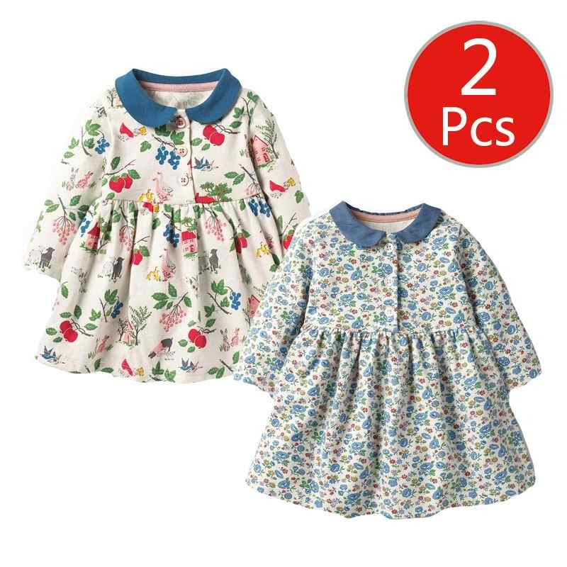 Little maven 2-7Years 2Pcs Autumn Baby Girls Long Sleeve Duck Floral Dress Toddler Dress Children Kids Tops Tees Fall Clothing