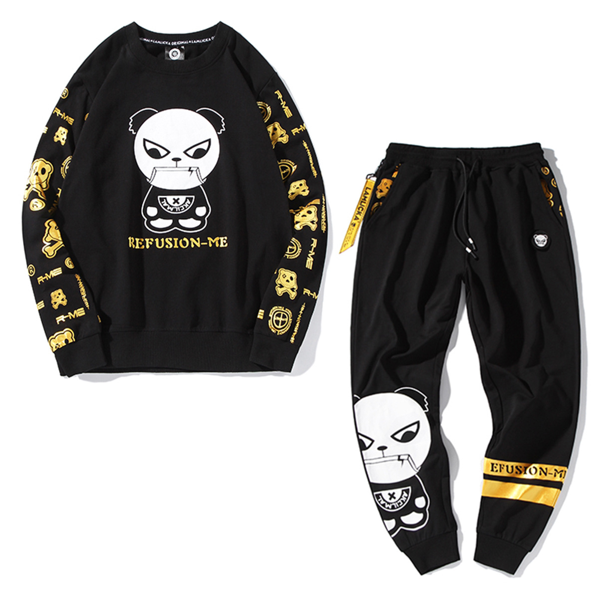 Cartoon Bronze Lettered Panda Printed Autumn Crew Neck Long-sleeved Sweater Sweatpants Two-Piece Set Large Size Casual Sportswea