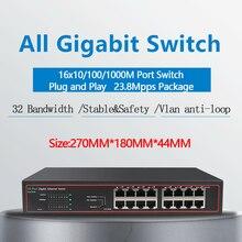 16 Port RJ45 Gigabit Ethernet anahtarı lan anahtarı ethernet anahtarı ip kamera için AP kablosuz