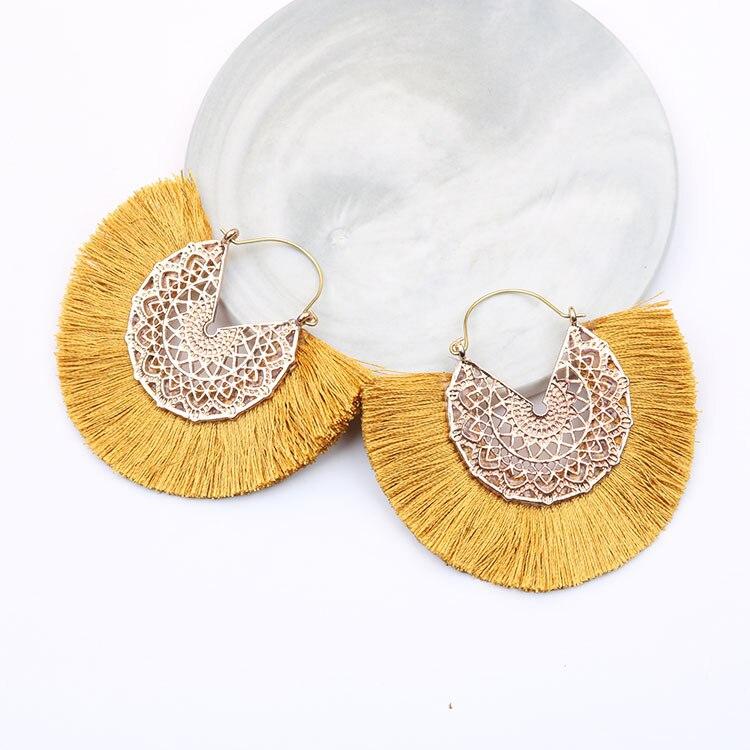 Bohemian Fan Shaped Tassel Earrings for Women Lady Female Fringe Handmade Dangle Earring Vintage Dangle Drop Earrings Jewelry