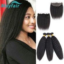 Бразильские пряди волос с фронтальной перегородкой Mayfair L, не Реми, курчавые прямые человеческие волосы, пряди с фронтальной
