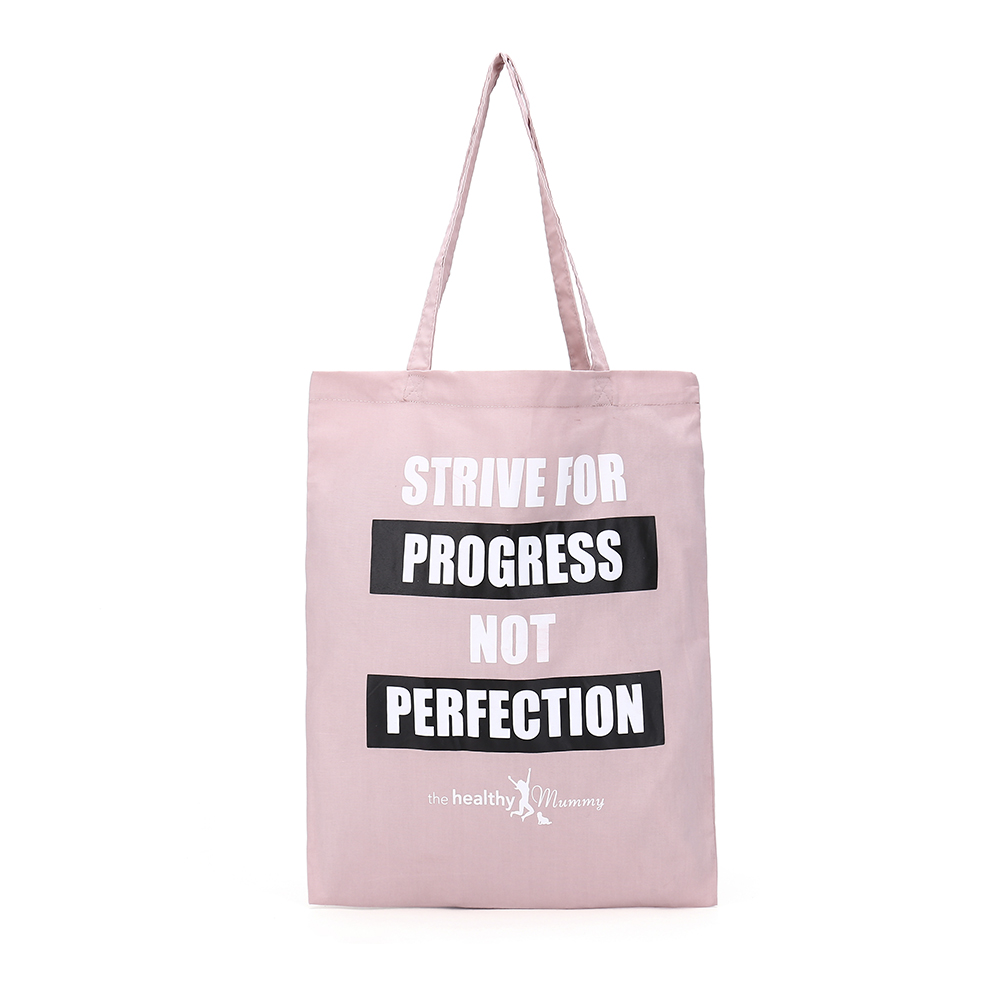 Pink Cotton Canvas Shopping Bag With Healthy Quotes Printed Eco-Friendly Reusable Bags