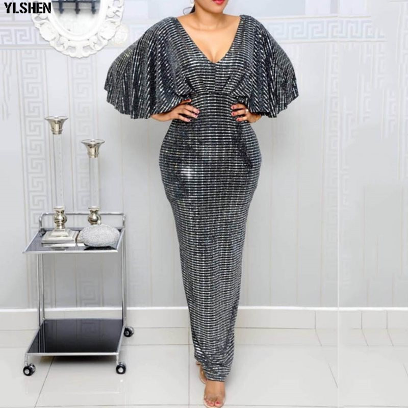 Length 160cm African Dresses For Women Dashiki Sequin Glitter African Clothes Bazin Robe Boubou Africaine Dress Africa Clothing