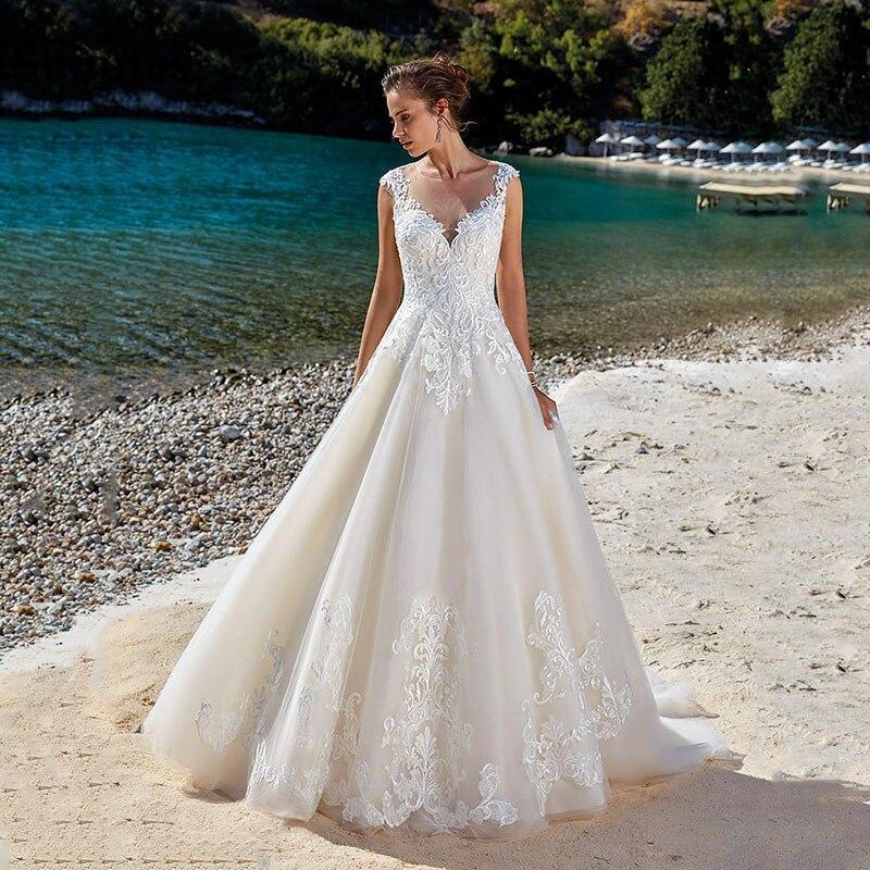 Sumnus Boho Wedding Dresses 2020 V Neck Lace Applique Illusion Back Beach Bridal Gown Princess Wedding Dresses vestidos de novia
